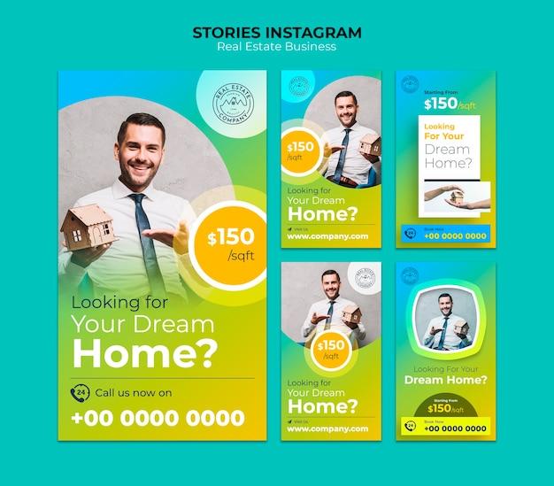 Pacote de histórias do instagram imobiliário