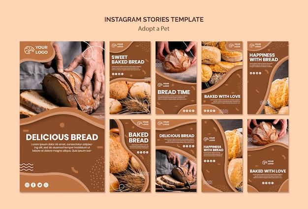 Pacote de histórias do instagram para empresas de culinária de pão