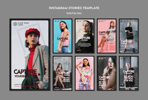 Pacote de histórias do instagram para o tema capture a si mesmo