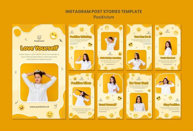 Pacote de histórias do instagram para positivismo com mulher feliz