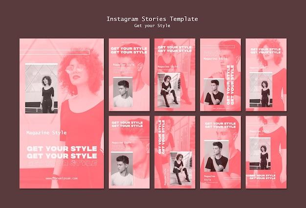 Pacote de histórias do instagram para revista de estilo eletrônico