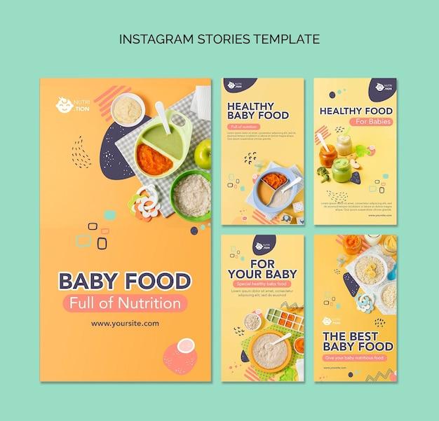 Pacote de histórias instagram de comida para bebê