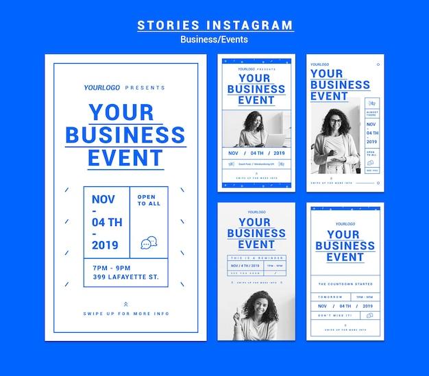 Pacote de instagram de histórias de eventos de negócios