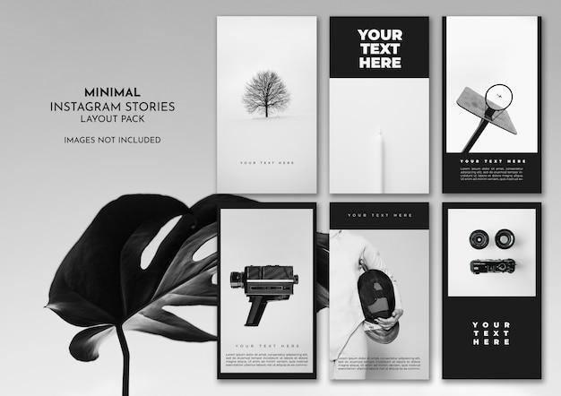 Pacote de layout mínimo do instagram preto e branco