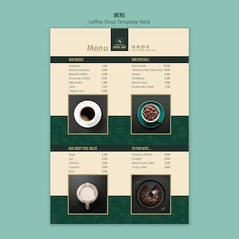 Pacote de modelo de menu de cafeteria