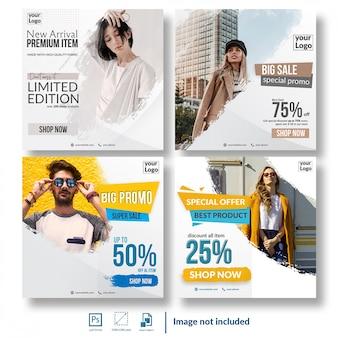 Pacote de modelo de mídia social de venda com desconto de compras