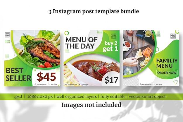 Pacote de modelo de postagem de mídia social de menu de comida