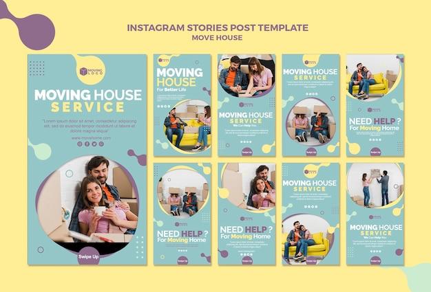 Pacote de modelo do instagram de mudança de casa