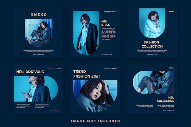 Pacote de modelos de banner para postagem em mídia social de moda estética para promoção