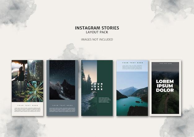 Pacote de modelos de layout de histórias do instagram