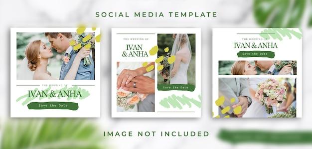 Pacote de modelos de mídia social para casamento
