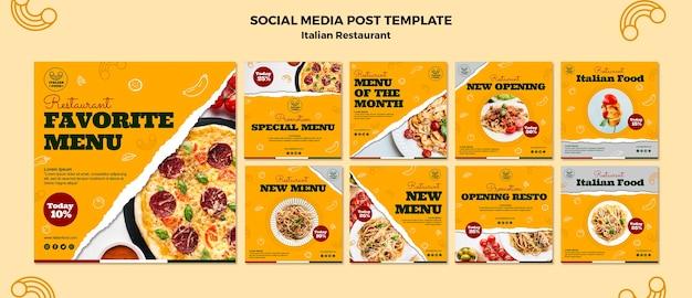 Pacote de postagem de mídia social de restaurante italiano