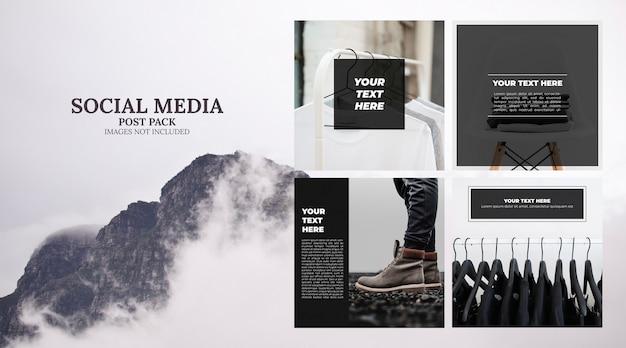Pacote de postagem de modelo de mídia social mínima