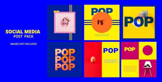 Pacote de postagem de modelo de mídia social pop
