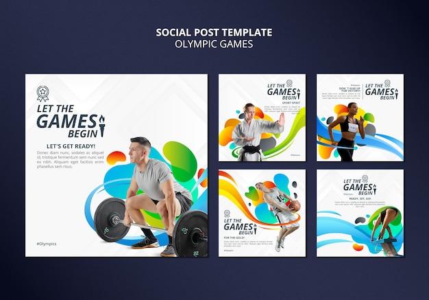 Pacote de postagens de mídia social dos jogos olímpicos