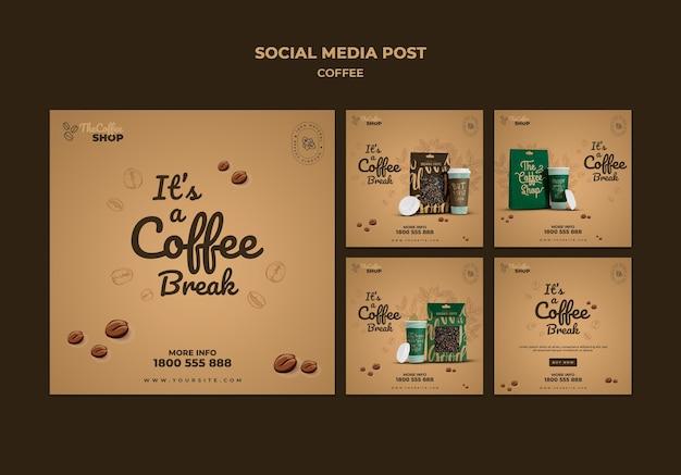 Pacote de postagens de mídia social para cafeteria