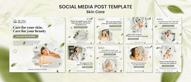 Pacote de postagens de mídia social para cuidados com a pele