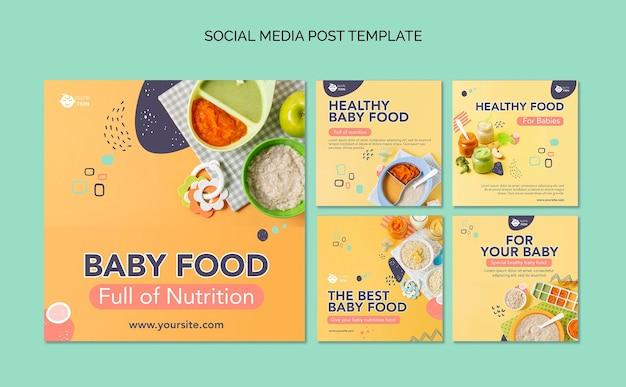 Pacote de postagens do instagram de comida para bebê