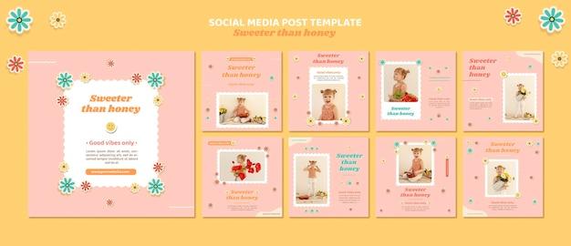 Pacote de postagens do instagram para crianças com flores