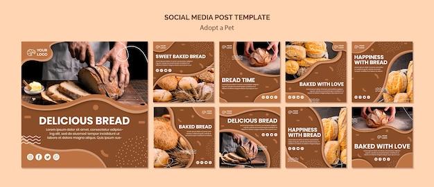 Pacote de postagens do instagram para empresas de culinária de pão