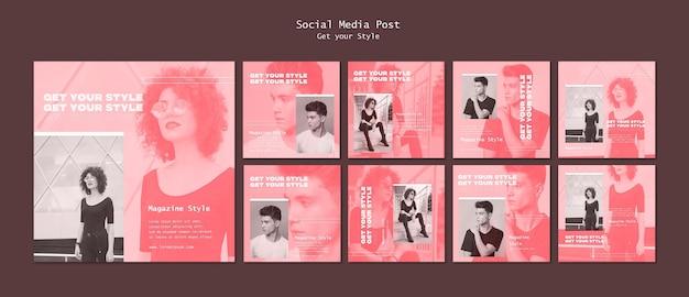 Pacote de postagens do instagram para revista de estilo eletrônico