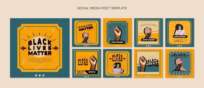 Pacote de postagens do instagram para vidas negras importa