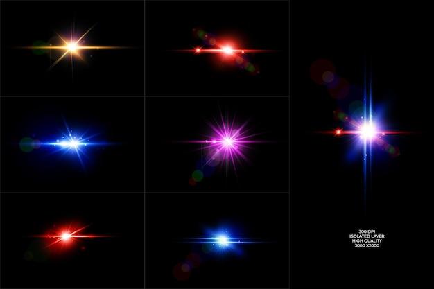 Pacote de reflexos de lente colorida, coleção de luz de lente brilhante