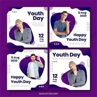 Pacote do instagram post para o dia internacional da juventude