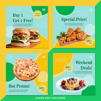 Pacote promotivo de alimentos mídia social post