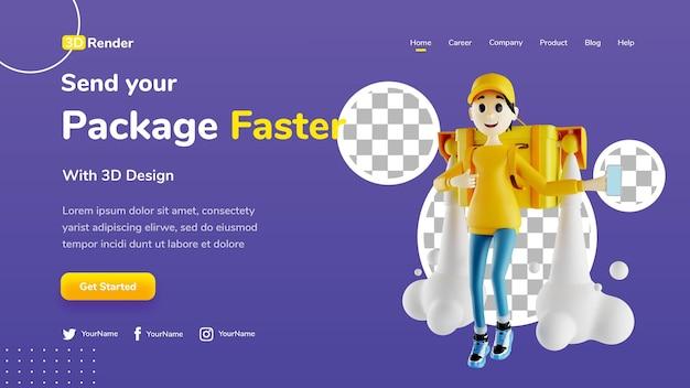 Pacotes de envio de conceito de modelo de página de destino 3d