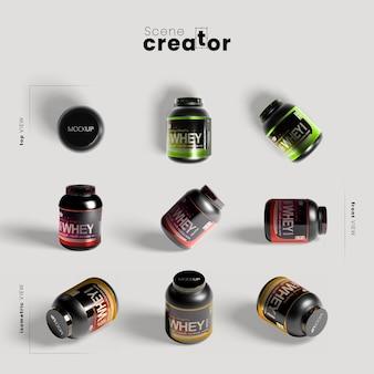 Pacotes de proteína para mock-up de ginásio