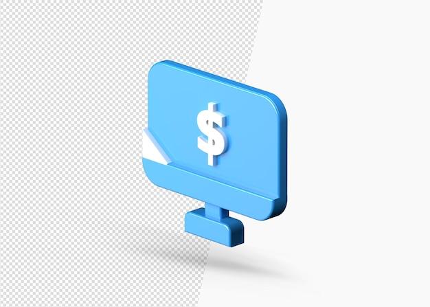 Pagamento de dólares online usando o ícone 3d do computador isolado
