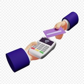 Pagamento de uma fatura com cartão de crédito através do conceito terminal de pagamento sem dinheiro e sem contato