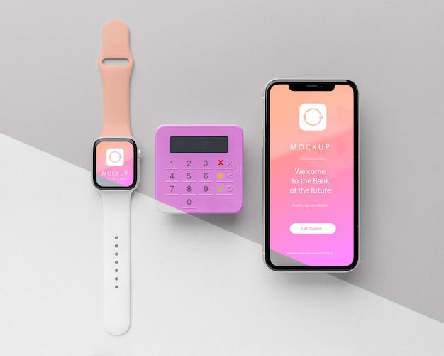 Pagamento eletrônico de simulação com smartwatch Psd Premium