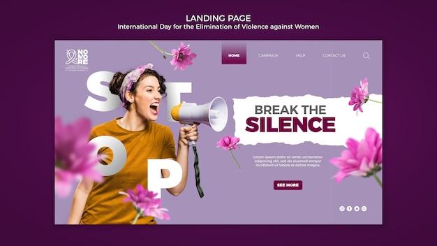 Página da conscientização sobre a violência contra as mulheres
