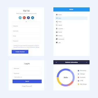 Página da web de elementos da interface do usuário