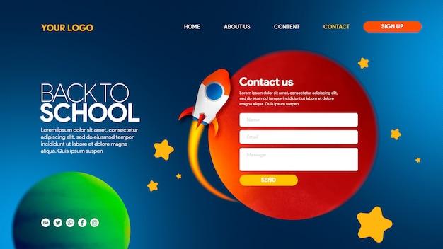 Página de aterrissagem de foguete voltar para a escola espaço de planar com planetas e estrelas