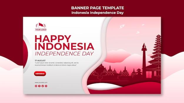 Página de banner do dia da independência da indonésia