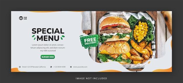 Página de capa do facebook do hambúrguer delicioso e modelo de design de banner da web premium psd