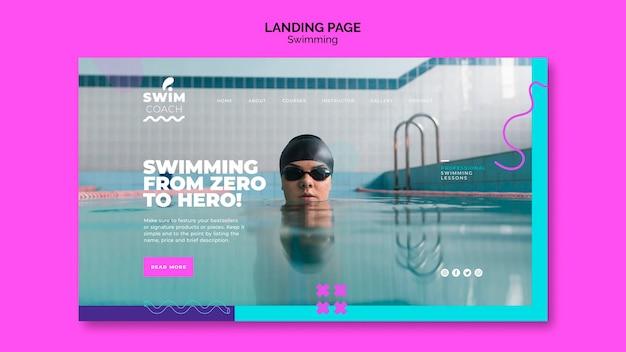 Página de chegada do nadador profissional