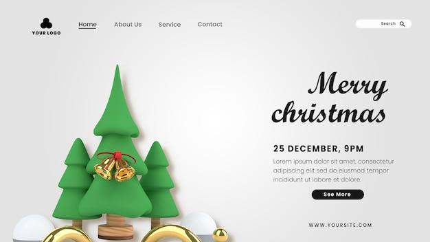 Página de destino 3d feliz natal