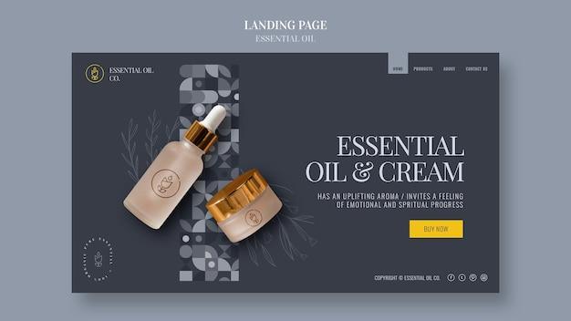 Página de destino com cosméticos de óleos essenciais