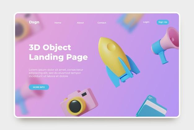 Página de destino com ícone de renderização 3d Psd Premium