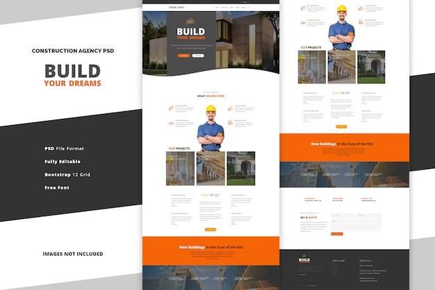 Página de destino da agência de construção para ferramentas de construção