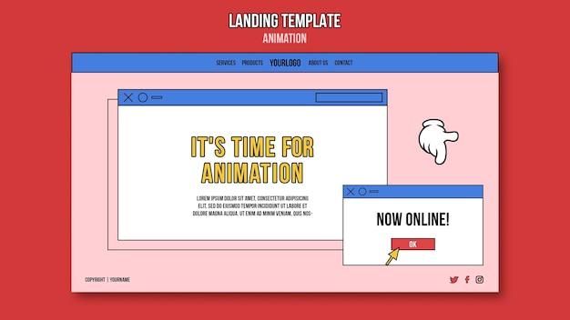 Página de destino da aula online de animação