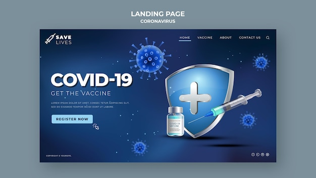 Página de destino da covid 19 Psd Premium