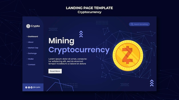 Página de destino da criptomoeda de mineração