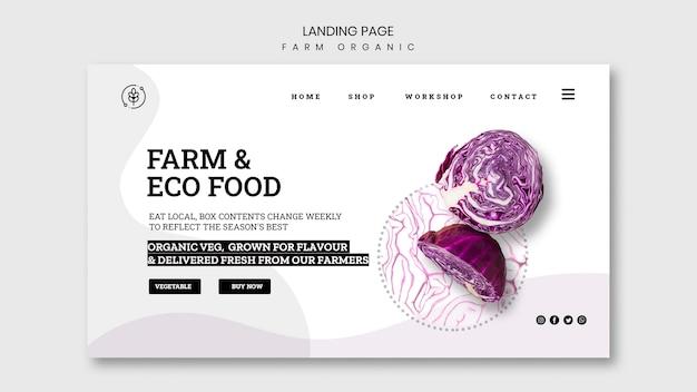 Página de destino da fazenda orgânica