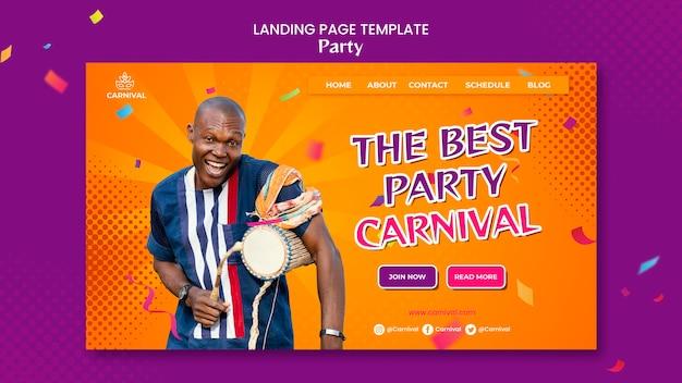 Página de destino da festa de carnaval