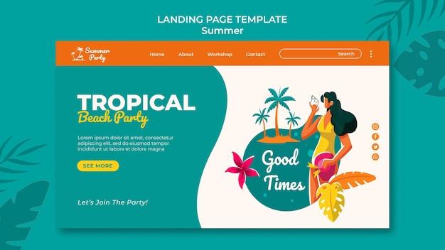 Página de destino da festa de verão tropical
